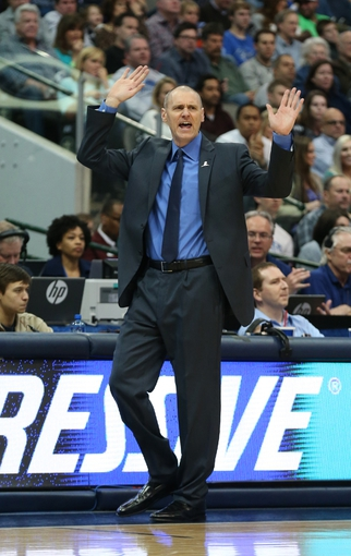 Mar 9, 2014; Dallas, TX, USA; Dallas Mavericks head coach Rick Carlisle reacts on the sidelines during the second half against the Indiana Pacers at American Airlines Center. The Mavs beat the Pacers 105-94. Mandatory Credit: Matthew Emmons-USA TODAY Sports