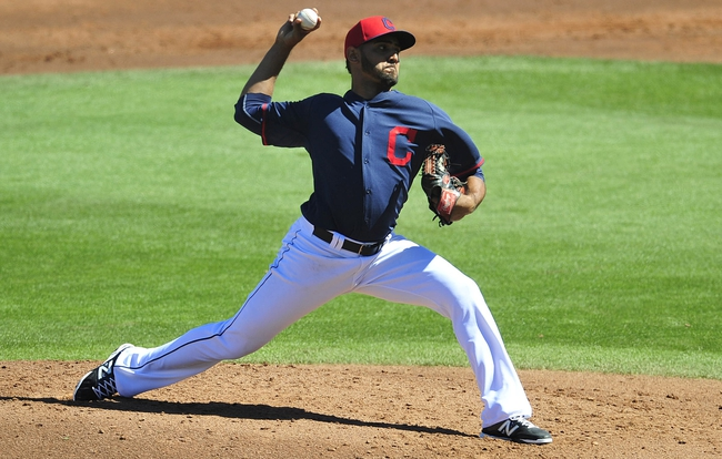 March 10, 2014; Goodyear, AZ, USA; Cleveland Indians starting pitcher Danny Salazar (31) pitches the second inning against the Los Angeles Angels at Goodyear Ballpark. Mandatory Credit: -USA TODAY Sports