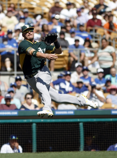 Mar 10, 2014; Phoenix, AZ, USA; Oakland Athletics third baseman Josh Donaldson (20) makes the off balance throw for the out against the Los Angeles Dodgers at Camelback Ranch. Mandatory Credit: Rick Scuteri-USA TODAY Sports