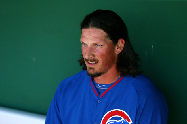 Mar 10, 2014; Scottsdale, AZ, USA; Chicago Cubs pitcher Jeff Samardzija in the dugout against the San Francisco Giants at Scottsdale Stadium. Mandatory Credit: Mark J. Rebilas-USA TODAY Sports