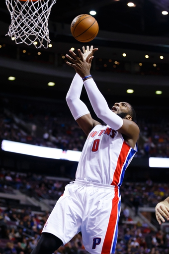 Nov 19, 2013; Auburn Hills, MI, USA; Detroit Pistons center Andre Drummond (0) shoots against the New York Knicks at The Palace of Auburn Hills. Mandatory Credit: Rick Osentoski-USA TODAY Sports
