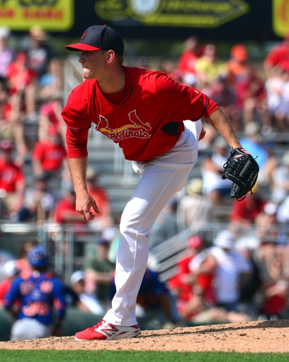 Mar 11, 2014; Jupiter, FL, USA; St. Louis Cardinals starting pitcher Zach Petrick (75) delivers a pitch against the New York Mets at Roger Dean Stadium. The Mets defeated the Cardinals 9-8. Mandatory Credit: Scott Rovak-USA TODAY Sports