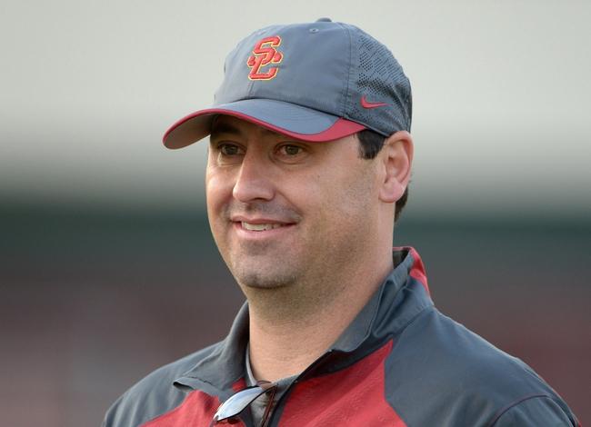 Mar 11, 2014; Los Angeles, CA, USA; Southern California Trojans coach Steve Sarkisian at Howard Jones Field. Mandatory Credit: Kirby Lee-USA TODAY Sports