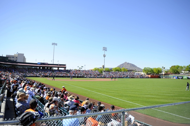 Mar 12, 2014; Scottsdale, AZ, USA; General view of Scottsdale Stadium during the sixth inning of a spring training game of the San Francisco Giants game against the Chicago White Sox. Mandatory Credit: Christopher Hanewinckel-USA TODAY Sports
