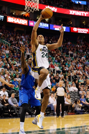 Mar 12, 2014; Salt Lake City, UT, USA; Utah Jazz forward Richard Jefferson (24) goes to the basket during the third quarter against the Dallas Mavericks at EnergySolutions Arena. Mandatory Credit: Chris Nicoll-USA TODAY Sports