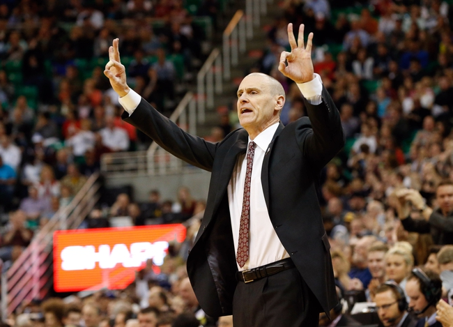 Mar 12, 2014; Salt Lake City, UT, USA; Dallas Mavericks head coach Rick Carlisle calls a play against the Utah Jazz during the third quarter at EnergySolutions Arena. Mandatory Credit: Chris Nicoll-USA TODAY Sports