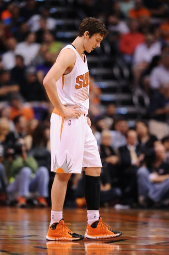 Mar 12, 2014; Phoenix, AZ, USA; Phoenix Suns guard Goran Dragic (1) reacts on the court against the Cleveland Cavaliers in the second half at US Airways Center. The Cavaliers won 110-101. Mandatory Credit: Jennifer Stewart-USA TODAY Sports