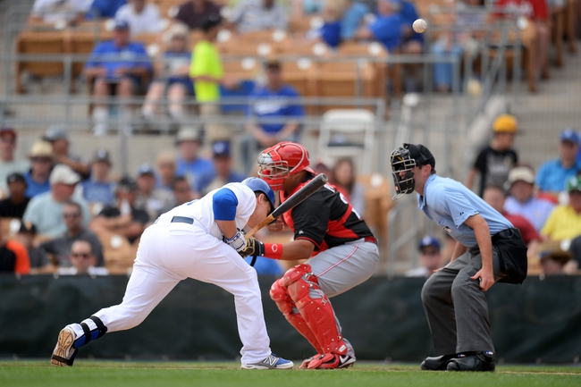 Mar 13, 2014; Phoenix, AZ, USA; Los Angeles Dodgers catcher Tim Federowicz (26) is hit by a pitch in the third inning of a spring training game against the Cincinnati Reds at Camelback Ranch. Mandatory Credit: Joe Camporeale-USA TODAY Sports