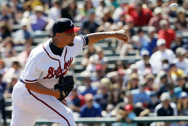 Mar 14, 2014; Lake Buena Vista, FL, USA; Atlanta Braves relief pitcher Luis Avilan (43) throws a pitch during the sixth inning against the Tampa Bay Rays at Champion Stadium. Mandatory Credit: Kim Klement-USA TODAY Sports