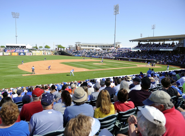 Mar 15, 2014; Surprise, AZ, USA; General view of Surprise Stadium during the fifth inning of the Kansas City Royals game against the Chicago Cubs. Mandatory Credit: Christopher Hanewinckel-USA TODAY Sports