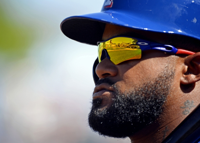 Mar 16, 2014; Surprise, AZ, USA; Texas Rangers first baseman Prince Fielder (84) prior to batting during the third inning against the Chicago White Sox at Surprise Stadium. Mandatory Credit: Christopher Hanewinckel-USA TODAY Sports
