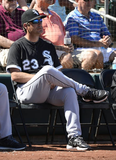 Mar 16, 2014; Surprise, AZ, USA; Chicago White Sox manager Robin Ventura (23) during the third inning against the Texas Rangers at Surprise Stadium. Mandatory Credit: Christopher Hanewinckel-USA TODAY Sports