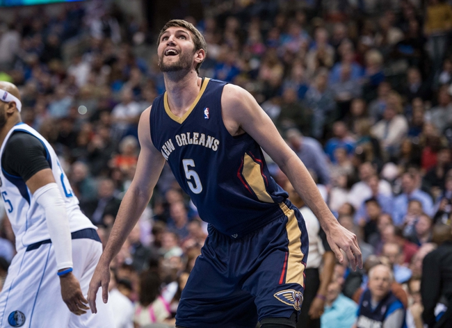 Feb 26, 2014; Dallas, TX, USA; New Orleans Pelicans center Jeff Withey (5) during the game against the Dallas Mavericks at the American Airlines Center. The Mavericks defeated the Pelicans 108-89. Mandatory Credit: Jerome Miron-USA TODAY Sports