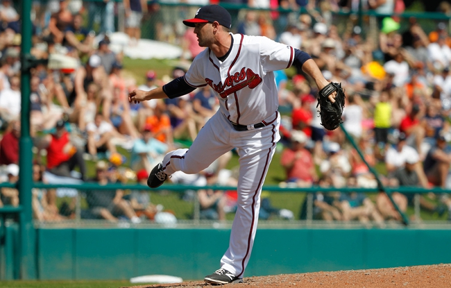 Mar 2, 2014; Lake Buena Vista, FL, USA; Atlanta Braves relief pitcher Cory Gearrin (53) throws a pitch against the Detroit Tigers at Champion Stadium. Mandatory Credit: Kim Klement-USA TODAY Sports