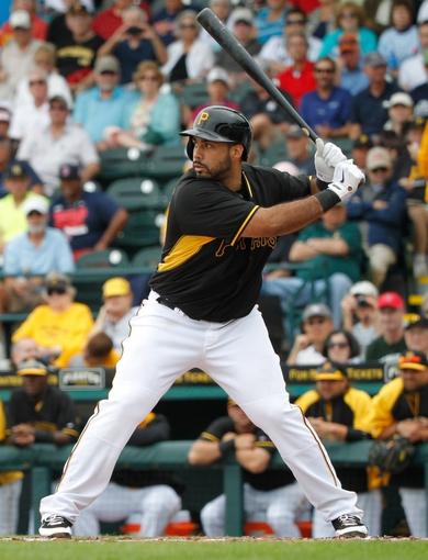 Feb 26, 2014; Bradenton, FL, USA; Pittsburgh Pirates third baseman Pedro Alvarez (24) at bat against the New York Yankees at McKechnie Field. Mandatory Credit: Kim Klement-USA TODAY Sports