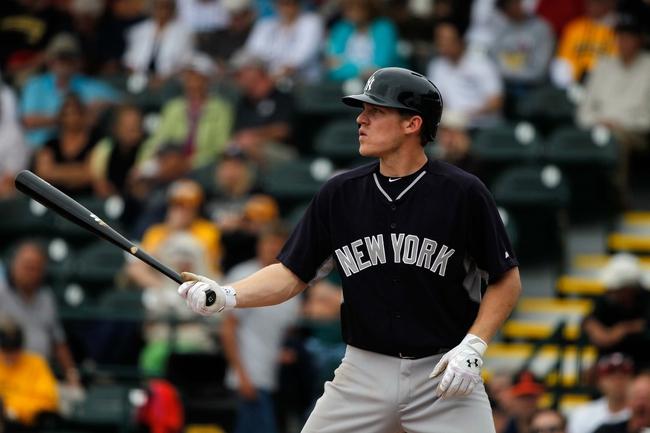 Feb 26, 2014; Bradenton, FL, USA; New York Yankees second baseman Corban Joseph (72) at bat against the Pittsburgh Pirates at McKechnie Field. Mandatory Credit: Kim Klement-USA TODAY Sports