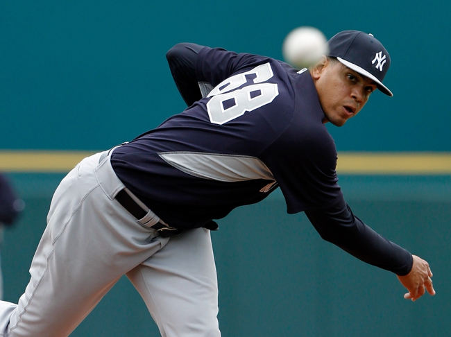 Feb 26, 2014; Bradenton, FL, USA; New York Yankees relief pitcher Dellin Betances (68) against the Pittsburgh Pirates at McKechnie Field. Mandatory Credit: Kim Klement-USA TODAY Sports