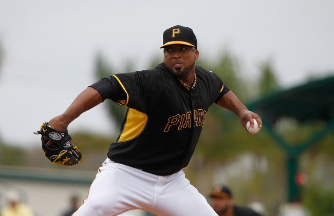 Feb 26, 2014; Bradenton, FL, USA; Pittsburgh Pirates starting pitcher Francisco Liriano (47) throws a pitch during the first inning against the New York Yankees at McKechnie Field. Mandatory Credit: Kim Klement-USA TODAY Sports