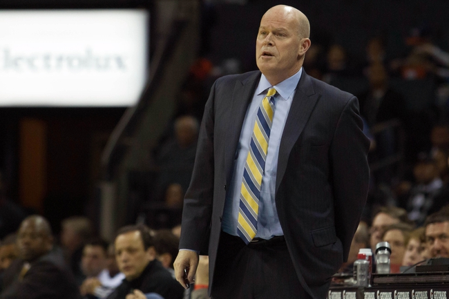Mar 17, 2014; Charlotte, NC, USA; Charlotte Bobcats head coach Steve Clifford looks on during the first half against the Atlanta Hawks at Time Warner Cable Arena. Mandatory Credit: Jeremy Brevard-USA TODAY Sports