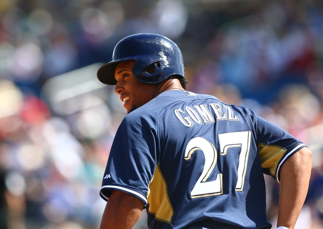 Mar 18, 2014; Phoenix, AZ, USA; Milwaukee Brewers outfielder Carlos Gomez in the fourth inning against the Texas Rangers at Maryvale Baseball Park. Mandatory Credit: Mark J. Rebilas-USA TODAY Sports