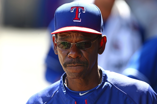 Mar 18, 2014; Phoenix, AZ, USA; Texas Rangers manager Ron Washington in the dugout against the Milwaukee Brewers at Maryvale Baseball Park. Mandatory Credit: Mark J. Rebilas-USA TODAY Sports