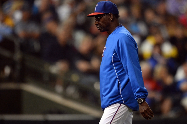 Mar 18, 2014; Surprise, AZ, USA; Texas Rangers Ron Washington during the fourth inning against the Chicago Cubs at Surprise Stadium. Mandatory Credit: Joe Camporeale-USA TODAY Sports