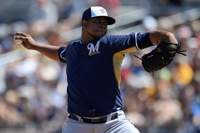 Mar 19, 2014; Peoria, AZ, USA; Milwaukee Brewers starting pitcher Wily Peralta (38) throws a pitch in the first inning against the Seattle Mariners at Peoria Sports Complex. Mandatory Credit: Joe Camporeale-USA TODAY Sports