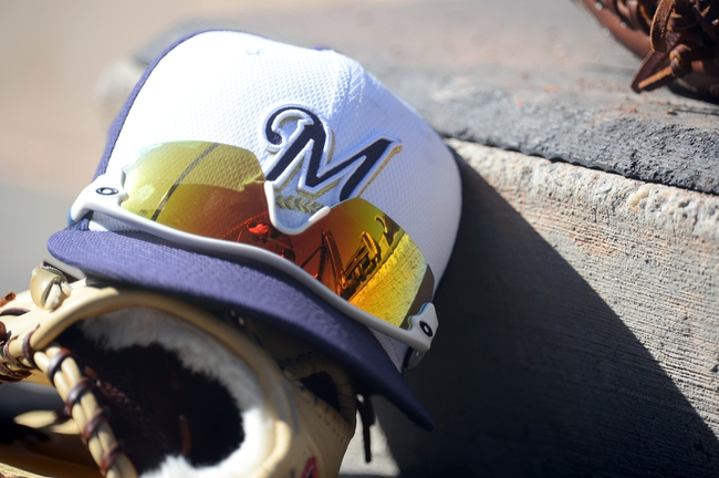 Mar 19, 2014; Peoria, AZ, USA; A Milwaukee Brewers hat sits in the dugout against the Seattle Mariners at Peoria Sports Complex. The Brewers won 9-7. Mandatory Credit: Joe Camporeale-USA TODAY Sports