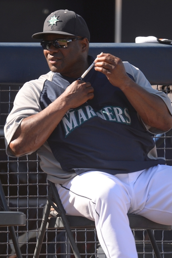 Mar 19, 2014; Peoria, AZ, USA; Seattle Mariners manager Lloyd McClendon looks on against the Milwaukee Brewers at Peoria Sports Complex. The Brewers won 9-7. Mandatory Credit: Joe Camporeale-USA TODAY Sports