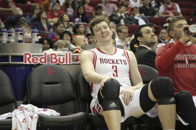 Mar 20, 2014; Houston, TX, USA; Houston Rockets center Omer Asik (3) sits on the bench during the fourth quarter against the Minnesota Timberwolves at Toyota Center. Mandatory Credit: Andrew Richardson-USA TODAY Sports