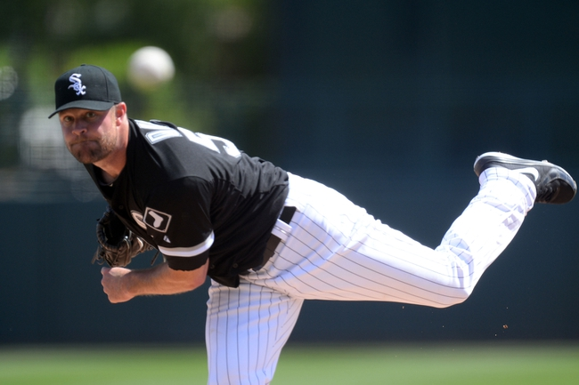 Mar 21, 2014; Phoenix, AZ, USA; Chicago White Sox starting pitcher John Danks (50) pitches in the first inning against the Chicago Cubs at Camelback Ranch. Mandatory Credit: Joe Camporeale-USA TODAY Sports