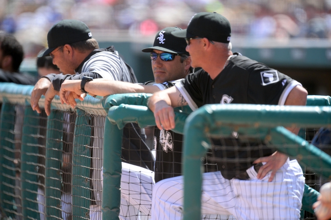 Mar 21, 2014; Phoenix, AZ, USA; Chicago White Sox manager Robin Ventura (23) looks on against the Chicago Cubs at Camelback Ranch. Mandatory Credit: Joe Camporeale-USA TODAY Sports
