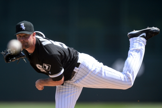 Mar 21, 2014; Phoenix, AZ, USA; Chicago White Sox starting pitcher John Danks (50) pitches against the Chicago Cubs in the second inning at Camelback Ranch. Mandatory Credit: Joe Camporeale-USA TODAY Sports