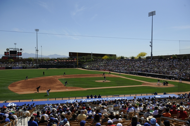 Mar 21, 2014; Phoenix, AZ, USA; A general view of game action between the Chicago White Sox and the Chicago Cubs at Camelback Ranch. The Cubs won 7-0. Mandatory Credit: Joe Camporeale-USA TODAY Sports