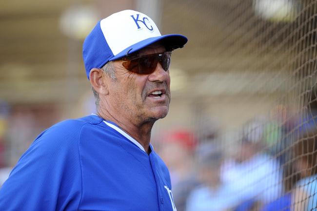 Mar 22, 2014; Surprise, AZ, USA; Former Kansas City Royals player George Brett looks on against the Texas Rangers at Surprise Stadium. The Royals won 8-4. Mandatory Credit: Joe Camporeale-USA TODAY Sports