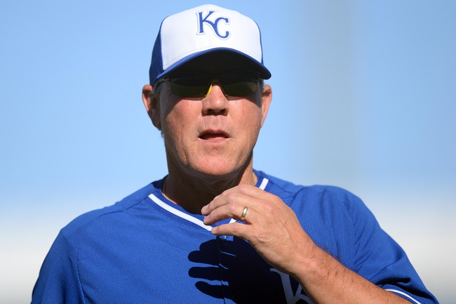 Mar 22, 2014; Surprise, AZ, USA; Kansas City Royals manager Ned Yost (3) looks on against the Texas Rangers at Surprise Stadium. The Royals won 8-4. Mandatory Credit: Joe Camporeale-USA TODAY Sports