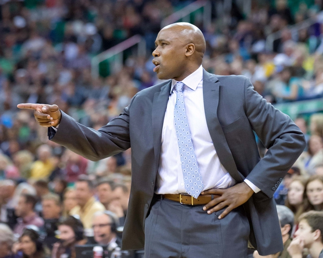 Mar 22, 2014; Salt Lake City, UT, USA; Orlando Magic head coach Jacque Vaughn reacts during the second half against the Utah Jazz at EnergySolutions Arena. The Jazz won 89-88. Mandatory Credit: Russ Isabella-USA TODAY Sports
