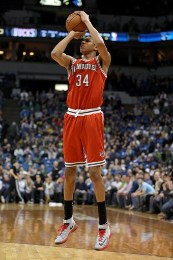 Mar 11, 2014; Minneapolis, MN, USA; Milwaukee Bucks guard Giannis Antetokounmpo (34) against the Minnesota Timberwolves at Target Center. The Timberwolves defeated the Bucks 112-101. Mandatory Credit: Brace Hemmelgarn-USA TODAY Sports