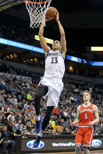 Mar 11, 2014; Minneapolis, MN, USA; Minnesota Timberwolves guard Kevin Martin (23) against the Milwaukee Bucks at Target Center. The Timberwolves defeated the Bucks 112-101. Mandatory Credit: Brace Hemmelgarn-USA TODAY Sports