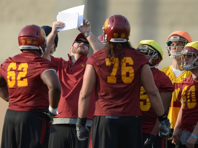 Mar 11, 2014; Los Angeles, CA, USA; Southern California Trojans graduate offensive assistant coach Kyle DeVan at spring practice at Howard Jones Field. Mandatory Credit: Kirby Lee-USA TODAY Sports