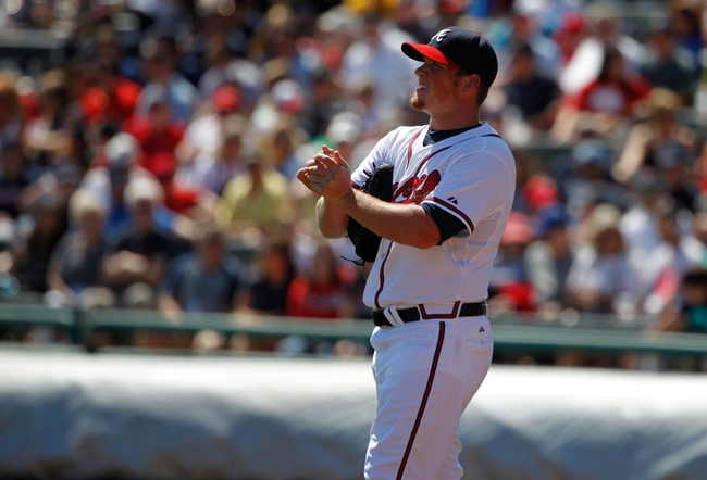 Mar 14, 2014; Lake Buena Vista, FL, USA; Atlanta Braves relief pitcher Craig Kimbrel (46) reacts during the fifth inning against the Tampa Bay Rays at Champion Stadium. Mandatory Credit: Kim Klement-USA TODAY Sports