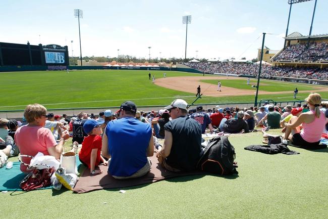 Mar 14, 2014; Lake Buena Vista, FL, USA; Tampa Bay Rays and Atlanta Braves fans watch the game at Champion Stadium. Mandatory Credit: Kim Klement-USA TODAY Sports