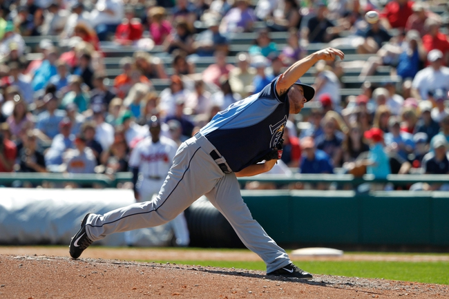 Mar 14, 2014; Lake Buena Vista, FL, USA; Tampa Bay Rays relief pitcher Steven Geltz (79) throws a pitch during the sixth inning against the Atlanta Braves at Champion Stadium. Mandatory Credit: Kim Klement-USA TODAY Sports