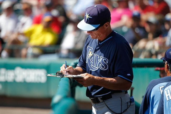 Mar 14, 2014; Lake Buena Vista, FL, USA; Tampa Bay Rays pitching coach Jim Hickey (48) against the Atlanta Braves at Champion Stadium. Mandatory Credit: Kim Klement-USA TODAY Sports