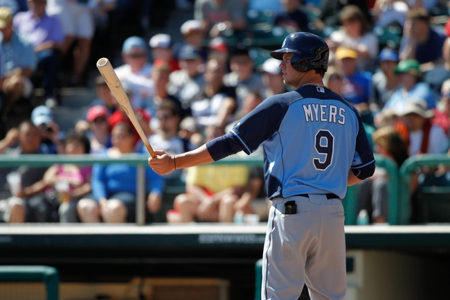 Mar 14, 2014; Lake Buena Vista, FL, USA; Tampa Bay Rays right fielder Wil Myers (9) at bat against the Atlanta Braves at Champion Stadium. Mandatory Credit: Kim Klement-USA TODAY Sports