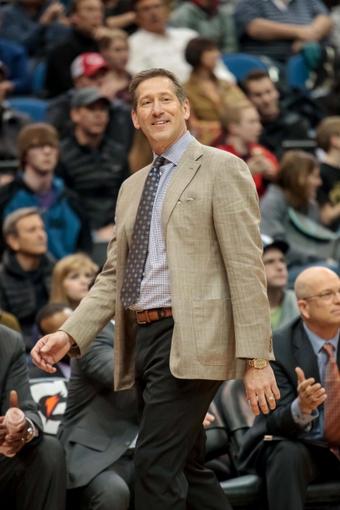 Mar 23, 2014; Minneapolis, MN, USA; Phoenix Suns head coach Jeff Hornacek in the third quarter against the Minnesota Timberwolves at Target Center. Phoenix wins 127-120. Mandatory Credit: Brad Rempel-USA TODAY Sports