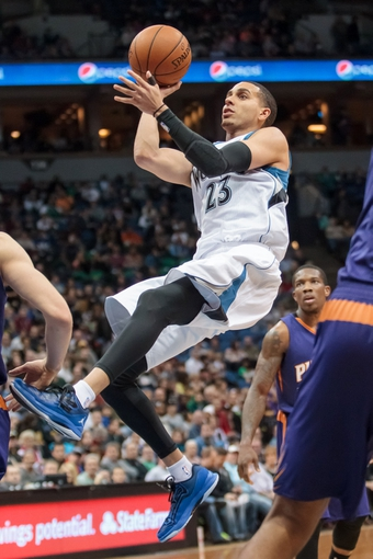 Mar 23, 2014; Minneapolis, MN, USA; Minnesota Timberwolves shooting guard Kevin Martin (23) shoots in the third quarter against the Phoenix Suns at Target Center. Phoenix wins 127-120. Mandatory Credit: Brad Rempel-USA TODAY Sports
