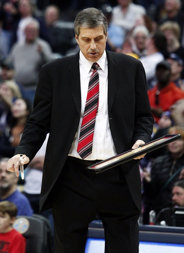 Mar 23, 2014; Denver, CO, USA; Washington Wizards head coach Randy Wittman gestures from the sidelines in the fourth quarter against the Denver Nuggets at the Pepsi Center. The Nuggets won 105-102. Mandatory Credit: Isaiah J. Downing-USA TODAY Sports