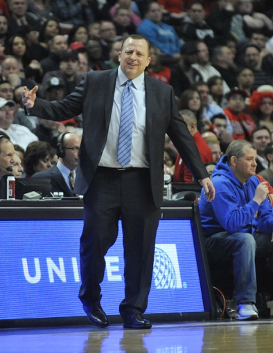 Mar 24, 2014; Chicago, IL, USA;  Chicago Bulls head coach Tom Thibodeau coaches against the Indiana Pacers during the second half at the United Center. the Chicago Bulls defeated the Indiana Pacers 89-77. Mandatory Credit: David Banks-USA TODAY Sports