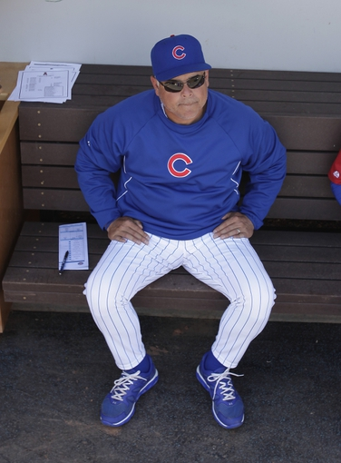 Mar 25, 2014; Mesa, AZ, USA; Chicago Cubs manager Rick Renteria (16) before a game against the Los Angeles Angels at HoHoKam Park. Mandatory Credit: ick Scuteri-USA TODAY Sports